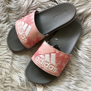 NWT Adidas Adilette Slides Gray and Pink Size 8